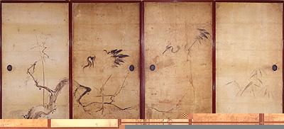 写真:狩野周信 《鶴図》 江戸時代中期(臨春閣障壁画)