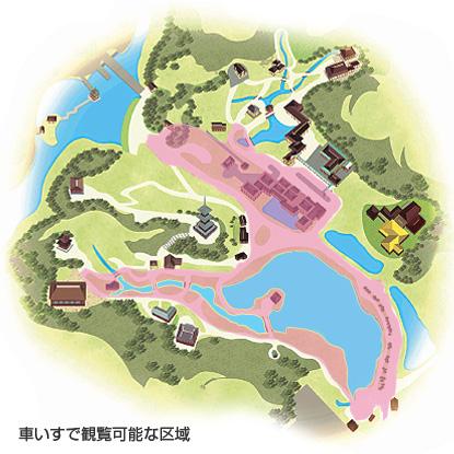 地図:車いすで観覧可能な区域